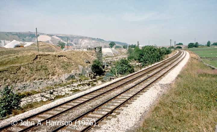 Helwith Bridge and adjacent rail-served quarries, context view from south.