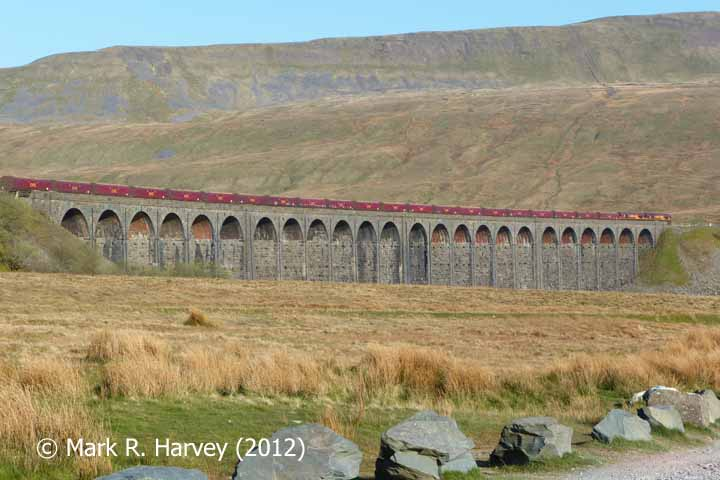 Ribblehead Viaduct from the southeast (with EWS freight train).