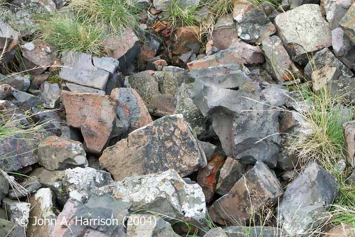 'Wasters' (rejected bricks) on the site of the Ribblehead Railway Construction Camp Brickworks.