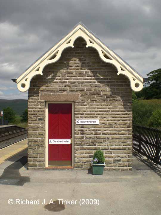 Garsdale Station Northern building (toilet block) on Up Platform: SW elevation