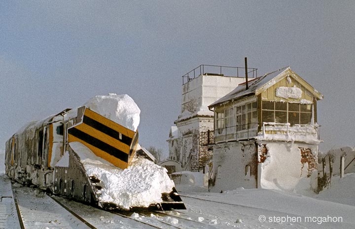 Blea Moor Signal Box and 'Up' Tank-House from southwest plus railway snow plough