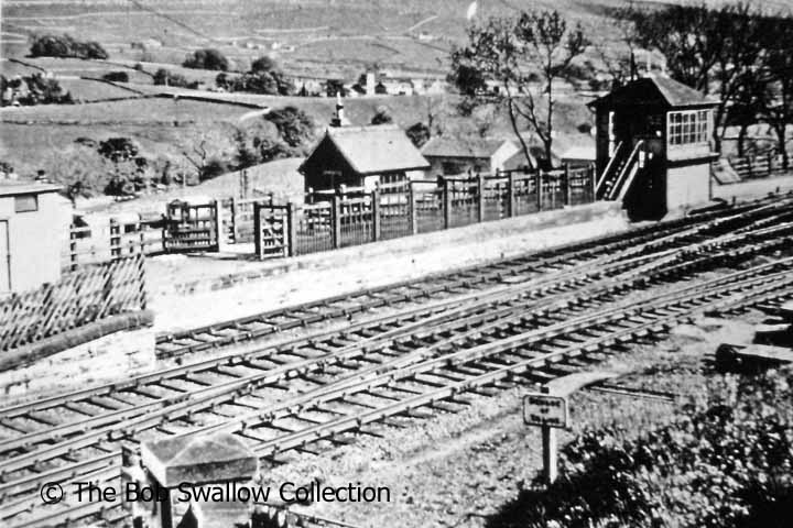 Horton-in-Ribblesdale station signal box, cattle dock and yard office from NW