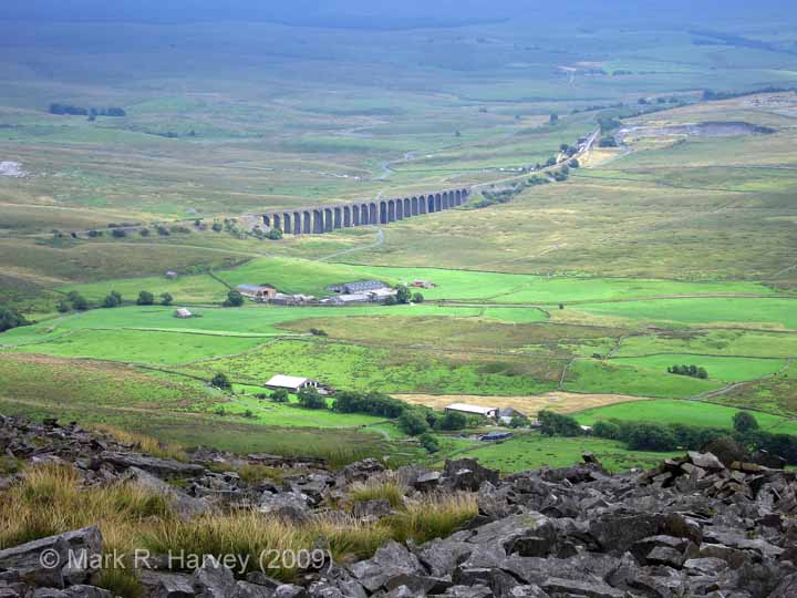 Ribblehead Viaduct: Context view from the summit of Whernside