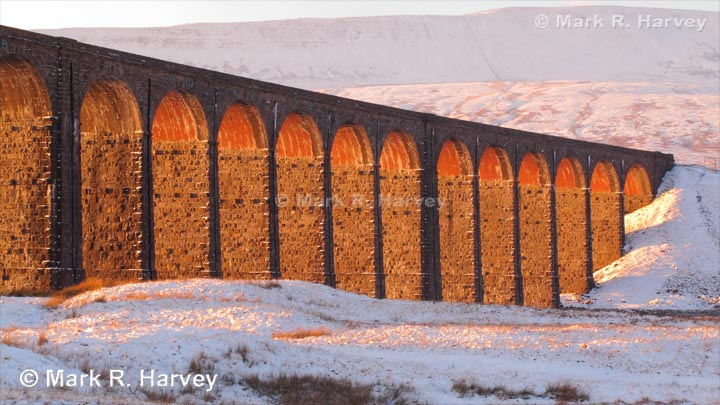 Ribblehead Viaduct from the southeast at midwinter sunset