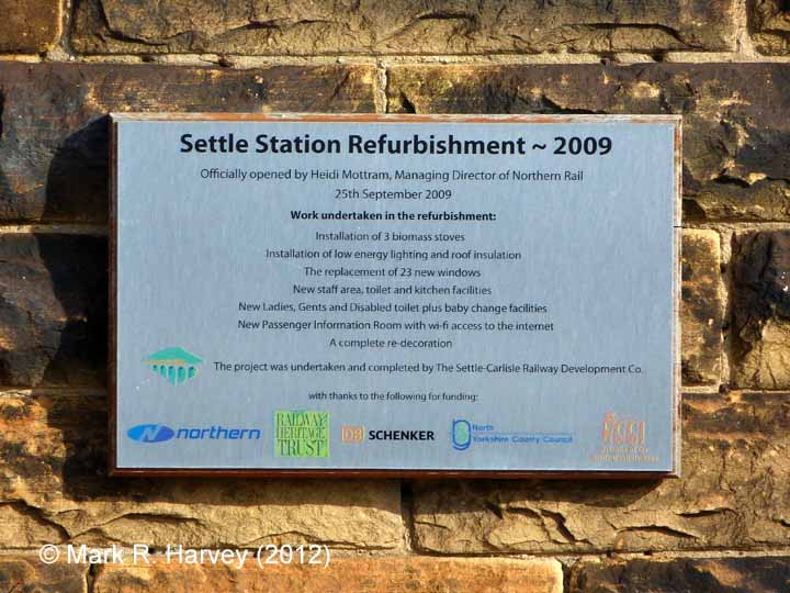 Settle Station Booking Office: 2009 station refurbishment plaque