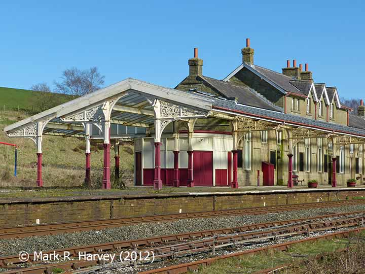 Hellifield Station: Platmain building, bookstall and canopy viewed from the west