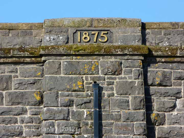 Ribblehead Viaduct: Close-up view of the north-eastern datestone (1875)