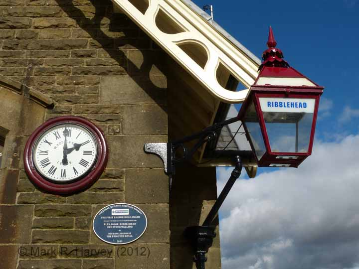 Ribblehead Station Booking Office: Facia, replica clock and heritage lighting