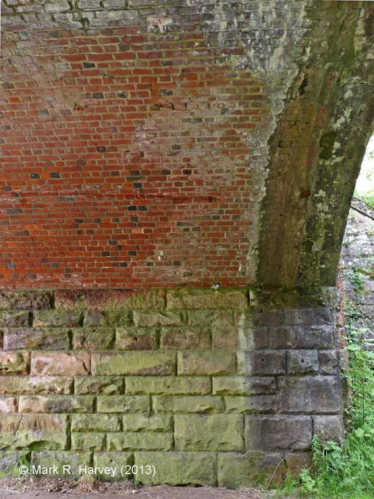 Bridge SAC/229 (Leazes Hill, PROW): Part of north-east abutment and brick-arch