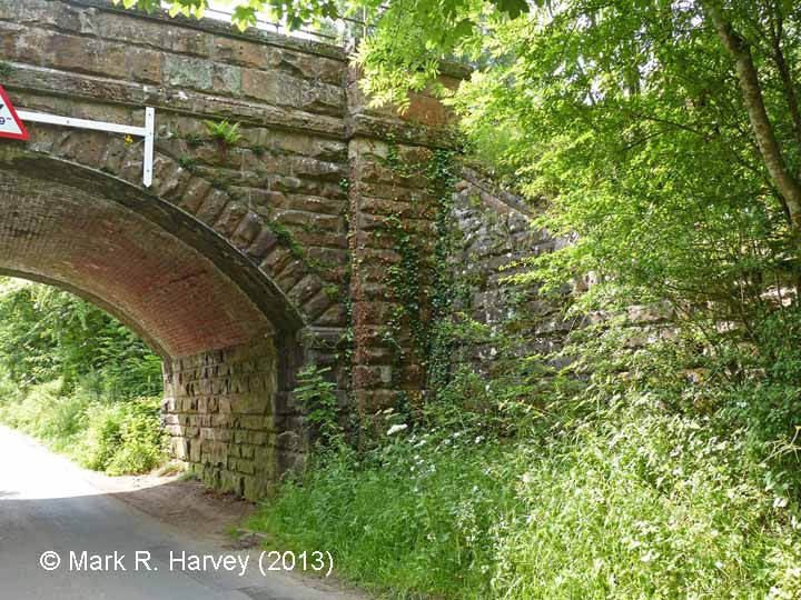 Bridge SAC/229 (Leazes Hill, PROW): North-west wingwall, abutment and brick-arch