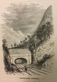 Black & White lithograph showing early railway signals near Ambergate Tunnel on the Midland Railway.