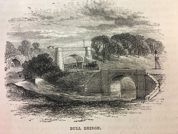 Black & White lithograph showing early railway signals near Bull Bridge on the Midland Railway.