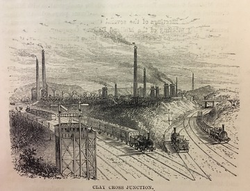 Black & White lithograph showing early railway signals at Clay Cross Junction on the Midland Railway.