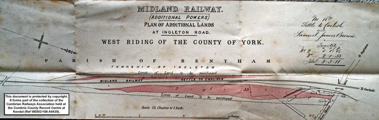 Midland Railway Company land plan dated 1875 showing the location of Mr Ashwell's Yard.