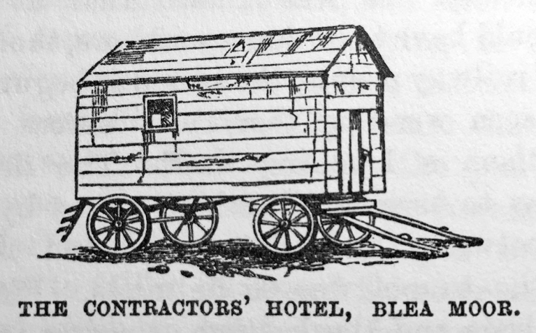 Line drawing: An artists impression of the 'caravan' known as the Contractors' Hotel, Blea Moor.