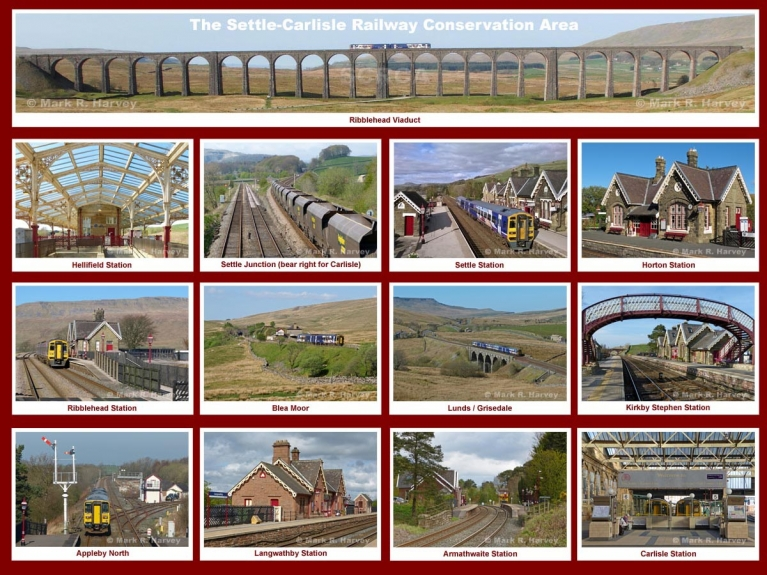 Montage of 13 photos illustrating the scenic qualities of the Settle-Carlisle Railway Conservation Area.