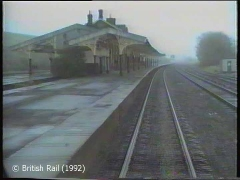 Hellifield Station, main building and canopy: Cab-view, northbound (rearwards).