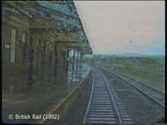 Hellifield Station, main building and canopy: Cab-view, southbound (rearwards).