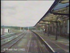 Hellifield Station, main building and canopy: Cab-view, northbound (forwards).