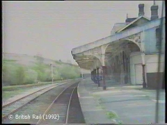 Hellifield Station, main building and canopy: Cab-view, southbound (forwards).
