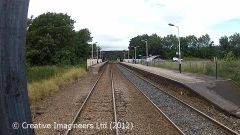 Long Preston Station: Cab-view, northbound looking straight ahead.