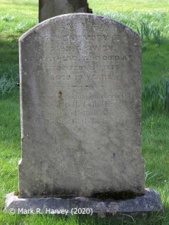 "Gravestone in Settle Churchyard: ""John G Owen of Holyhead who died at Settle Feby 18th 1873 aged 19 years""."