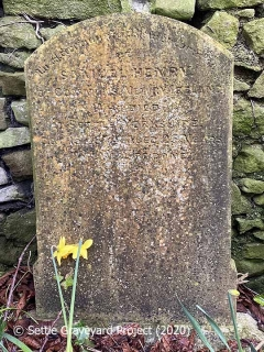 "Gravestone in Settle Churchyard: ""Samuel Henry of Commons, Newry, Ireland who died at Settle, Yorkshire Oct 15 1874, aged 25 years""."