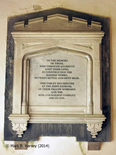 Memorial to Settle-Carlisle Railway construction workers in St Leonards' Church.