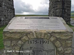 Ribblehead Viaduct Memorial Cairn: the two main plaques.