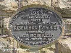 Ribblehead Viaduct Memorial Cairn: Ian Allen plaque on southwest face.
