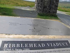 Ribblehead Viaduct Memorial Cairn: the orientation plaque on top.