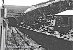 Blea Moor Tunnel South Portal and Platelayers' Hut: Context view from S in snow.