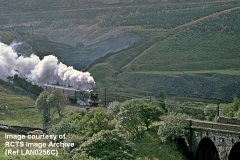 Blea Moor Tunnel North Portal, spoil tip, Dent Head Viaduct and Flying Scotsman.