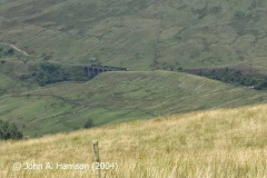 Artengill Viaduct (west face) and SAC83 viewed from the northern flank of Blea Moor.