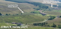 Garsdale Junction and Hawes Branch trackbed: Aerial view from northeast.