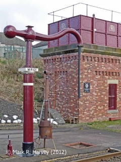 Appleby station rebuilt tank house and 'Up' side water crane, from the west (2).