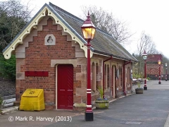 Appleby Station Waiting Room, 'Up' tank house and heritage lighting from WNW.