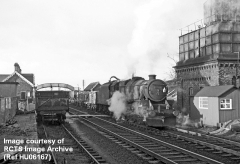 Appleby Station from southeast, Class 5 No. 44884 on 'Up' goods taking-on water.