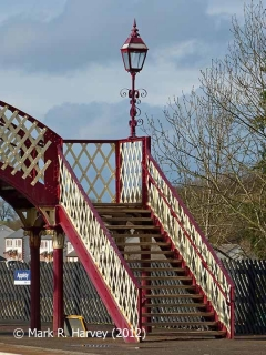 Appleby Station Footbridge, 'Up' side stairs and ornamental lantern.