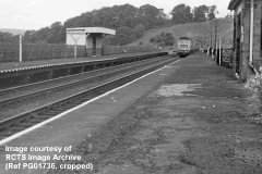 Culgaith Station platforms ('Down' = left, 'Up' = right), looking west-northwest.