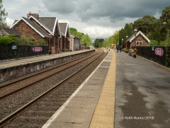 298100: Armathwaite Station - Passenger Platform (Down): Context view from the South East