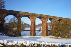 Dry Beck Viaduct: West elevation view in winter