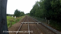 Cab-view image: Level Crossing (PROW - footpath)