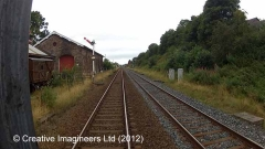 277100: Appleby Station - Goods Shed: Cab-view video still (northbound)