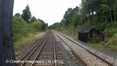 305190: Platelayers' Hut (Scotby Station): Cab-view video-still (northbound)