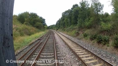305200: Scotby Station - Siding (Down): Cab-view video-still (northbound)