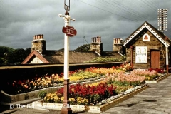 Settle Station 'Down' Platform flower beds and waiting room