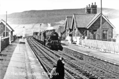 'Up' goods train passing Ribblehead Station prior to removal of 'Down' platform