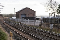 288180: Langwathby Station - Goods Shed:Context view from the north
