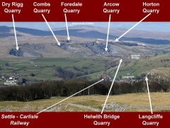 Annotated photo showing the location of key quarry sites near Helwith Bridge